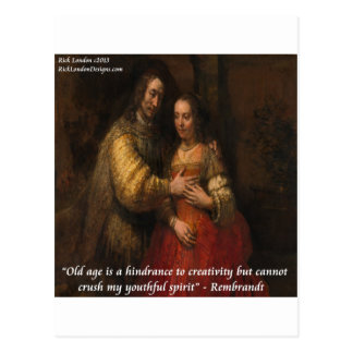 "Rembrandt ""The Jewish Bride"" & Old Age Quote Postcard"