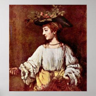 Rembrandt van Rijn - Hendrickje as Flora Poster