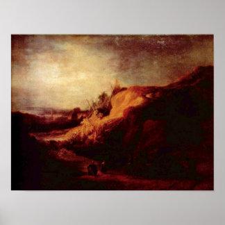 Rembrandt van Rijn - Landscape with Carriage Print