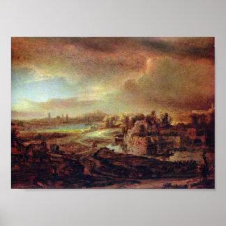 Rembrandt van Rijn - Landscape with Obelisk Print