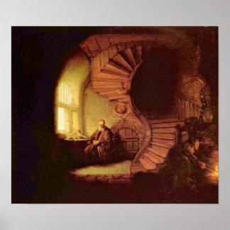 Rembrandt van Rijn - Philosopher in meditation Posters