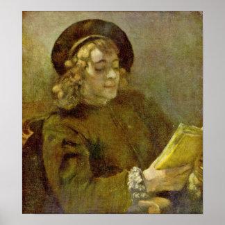 Rembrandt van Rijn - Portrait of Titus reading Poster