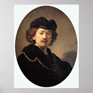 Rembrandt van Rijn - Self-portrait with beret Poster