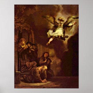 Rembrandt van Rijn - The angel Raphael Posters