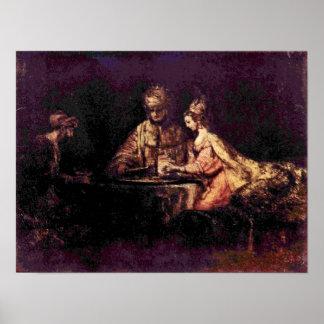 Rembrandt van Rijn - The Feast of Esther Poster