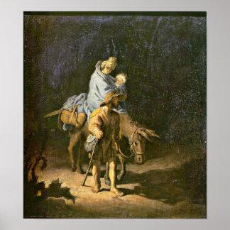 Rembrandt van Rijn - The flight into Egypt Print
