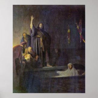Rembrandt van Rijn - The raising of Lazarus Print