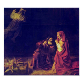 Rembrandt van Rijn - The sacrifice of Manoah Print