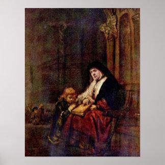 Rembrandt van Rijn - Timothy and grandmother Posters