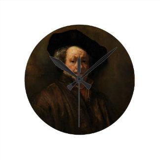 Rembrandt van Rijn's Self Portrait Fine Art Round Clock
