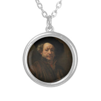 Rembrandt van Rijn's Self Portrait Fine Art Silver Plated Necklace