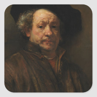 Rembrandt van Rijn's Self Portrait Fine Art Square Sticker