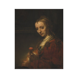 Rembrandt Woman with a Pink Canvas Print