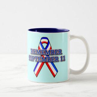 Remember 9/11 Ribbon on Tees, Mugs, Buttons Two-Tone Coffee Mug