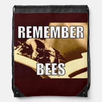 Remember Bees Drawstring Bag