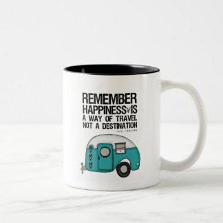 remember happiness Two-Tone coffee mug