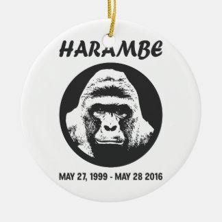Remember Harambe Round Ceramic Ornament