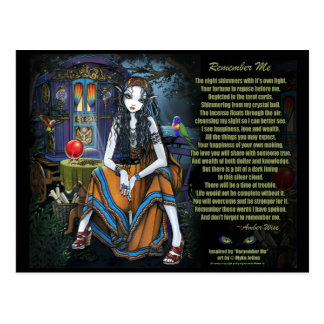 Remember Me Gypsy Fortune Teller Poem Postcard