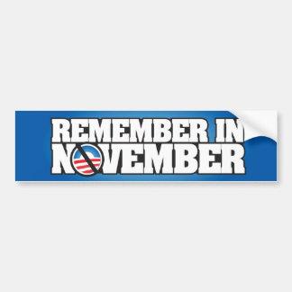 Remember November Bumper Sticker