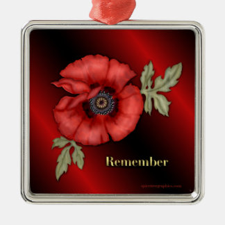 Remember Poppy Metal Ornament