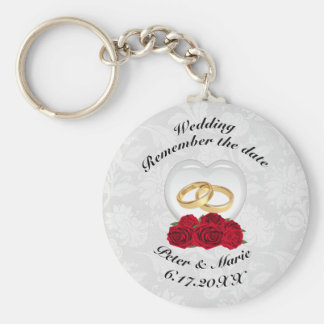 Remember The Date Wedding Hearts and Roses Basic Round Button Keychain