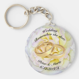 Remember The Date Wedding Rings and Rose Basic Round Button Keychain