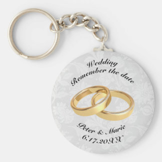 Remember The Date Wedding Rings Basic Round Button Keychain