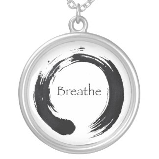 Remember to Breathe Round Pendant Necklace