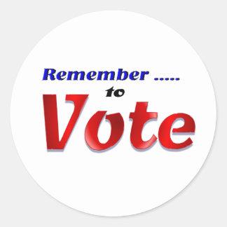 Remember to Vote Classic Round Sticker