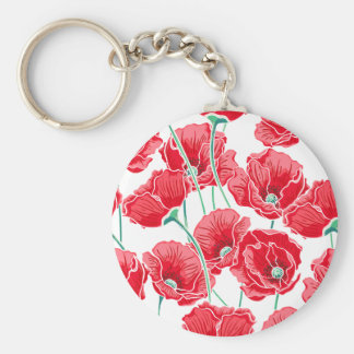 Rememberance red poppy field floral pattern basic round button keychain