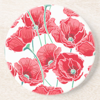 Rememberance red poppy field floral pattern beverage coaster