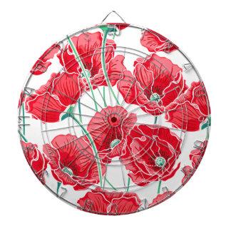 Rememberance red poppy field floral pattern dartboard