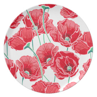 Rememberance red poppy field floral pattern dinner plate