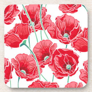 Rememberance red poppy field floral pattern drink coaster