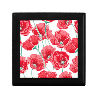Rememberance red poppy field floral pattern gift box