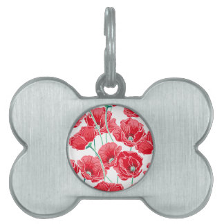 Rememberance red poppy field floral pattern pet ID tags