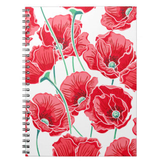 Rememberance red poppy field floral pattern spiral note book