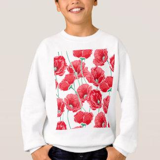 Rememberance red poppy field floral pattern sweatshirt