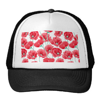 Rememberance red poppy field floral pattern trucker hat