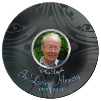 Remembrance Memorial Image Black Ebony Porcelain Plate