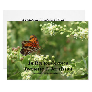 Remembrance Memorial Service Invitation, Butterfly Card