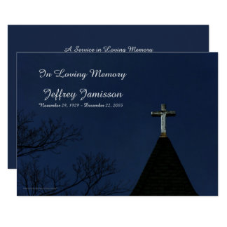 """Remembrance Memorial Service Old Wooden Cross 5"""" X 7"""" Invitation Card"""
