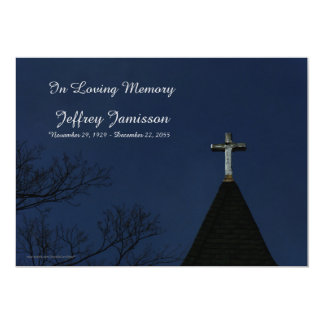 "Remembrance Memorial Service Old Wooden Cross 5"" X 7"" Invitation Card"