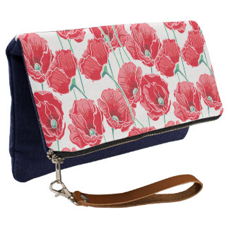 Remembrance red poppy field floral pattern clutch