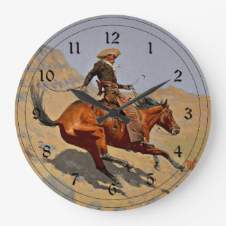Remington: The Cowboy, American cowboy art Large Clock