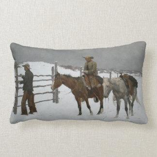 """Remington's """"The End of the Cowboy."""" Lumbar Pillow"""