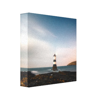 Remote lighthouse sunset evening canvas print