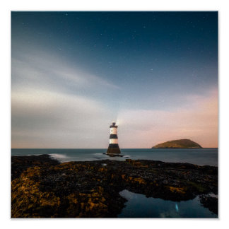 Remote lighthouse sunset evening poster