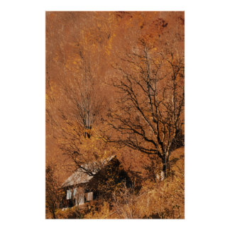 Remote Mountain Cabin in Autumn Blaze of Color Poster