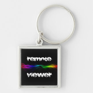 Remote Viewing Silver-Colored Square Keychain